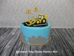 Tort z koparką na 2 latka
