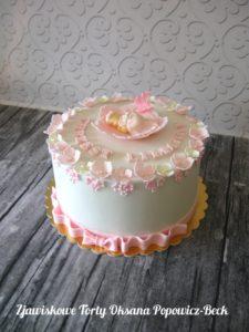 Tort z kwiatami dla dziewczynki na chrzest