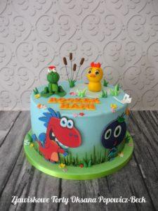 Tort urodzinowy smok edzio; była sobie żabka mała