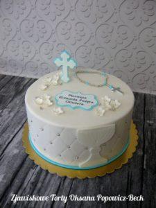 Tort z różańcem kielichem krzyżem na komunię