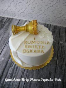 Tort kielich z hostią na komunię