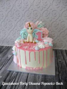 Tort z jednorożcem na roczek dziewczynki
