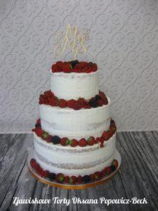 Tort seminaked rustykalny z owocami, bez masy cukrowej