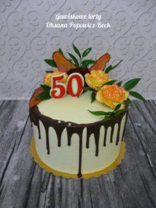 Drip cake na 50 urodziny