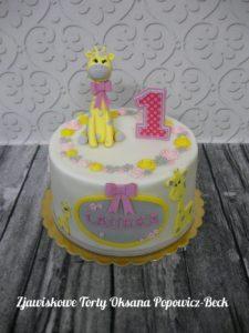 Tort z żyrafą dla dziecka; safari