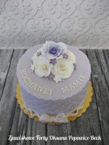 Tort z kwiatami cukrowymi dla mamy