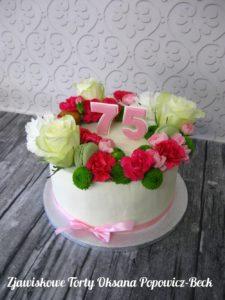 Tort z zywymi kwiatami na 75 urodziny