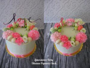 Tort z kwiatami bez masy cukrowej
