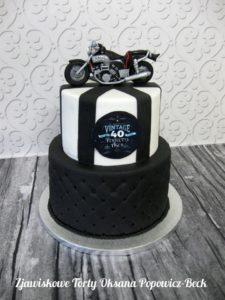 Tort na 40 urodziny vintage motocykl