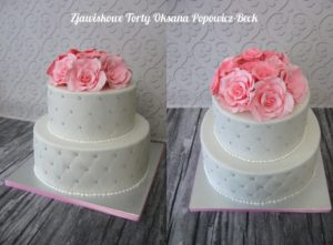 Tort weselny z kwiatami, elegancki