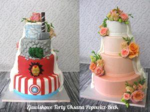 Dwustronny tort ślubny weselny