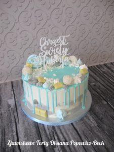 Tort bez masy na chrzest