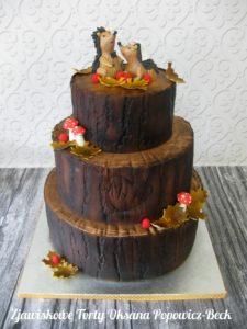 Jesienny tort ślubny