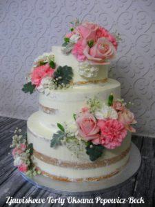 Tort weselny semi naked z kwiatami