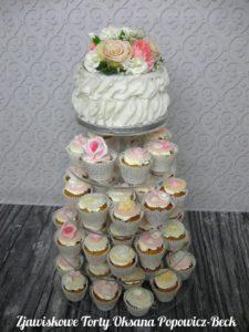 Tort weselny i babeczki (miniporcje, monotorty)